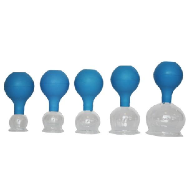 5 delige glazen cuppingset met balpomp 2,3,4,5, 6 cm blauw